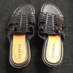 Black slip on sandels